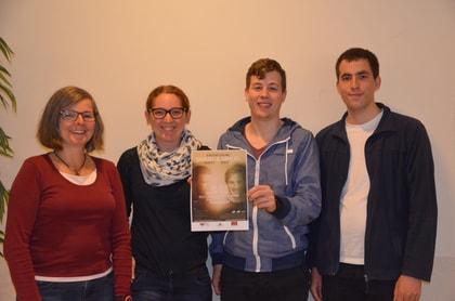 v.l.n.r.: Birgit Pieper (Leitende Referentin CVJM), Lisa Stegerer (Jugendreferentin Jugendkirche Samuel), Andreas Koch (1. Vorsitzender CVJM) und Marius Wisker (Veranstaltungsleiter), Bild: CVJM